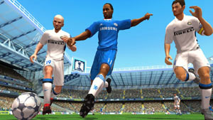 Going for the ball between two defenders in FIFA Soccer 11 for Wii