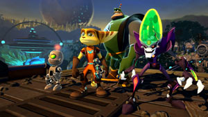 The four playable characters of Ratchet & Clank: All 4 One