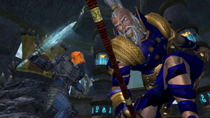 Battling a giant enemy in the EverQuest II: Destiny of Velious All-in-One Compilation Pack