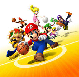 Key art showing a sampling of the characters available and sports found in Mario Sports Mix
