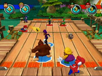 Mario aiming for Waluigi in the Dodgeball game built into Mario Sports Mix