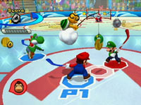 Mario squaring off against Luigi at center ice in the ice hockey game featured in Mario Sports Mix