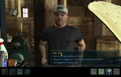 Interacting with a non-player character in Nancy Drew: Trail of the Twister