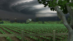 Rendering of a tornado touching down in a farmer's field from Nancy Drew: Trail of the Twister