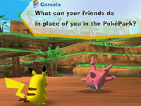Pikachu talking to a friend in-game in PokéPark Wii: Pikachu's Adventure
