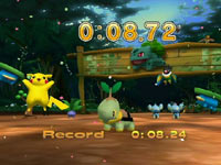 A Pokémon celebrating a new mini-game record in PokéPark Wii: Pikachu's Adventure