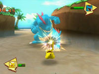 Pikachu battling a Pokémon in PokéPark Wii: Pikachu's Adventure
