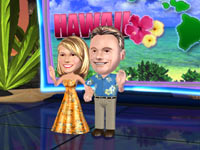 Vanna White and Pat Sajak in Hawaiian themed outfits in Wheel of Fortune for Wii