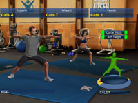 Bob Harper leading a multiplayer yoga exercises in The Biggest Loser: Ultimate Workout