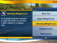 Game environment and corresponding difficulty settings in The Biggest Loser: Ultimate Workout
