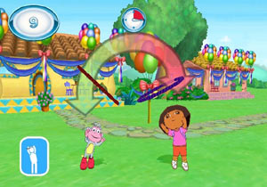 Boots and Dora tossing rings to each other in Nickelodeon Fit
