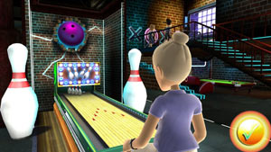 Female player engaging in a bowling like game in Game Party: In Motion