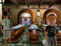 Xbox LIVE avatars engaging in the Rootbeer Tapper game in Game Party: In Motion