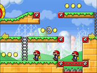 Mini Marios marching in a line in Mario vs. Donkey: Kong Mini-Land Mayhem!