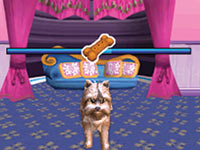 Using the DS stylus and a doggie treat to get your pup to perform in Barbie Groom & Glam Pups