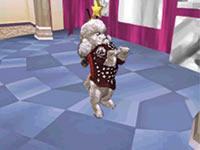 A puppy performing a trick in Barbie Groom & Glam Pups