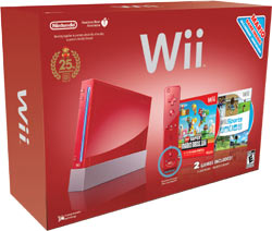 Red Wii New Super Mario Bros. Wii bundle box