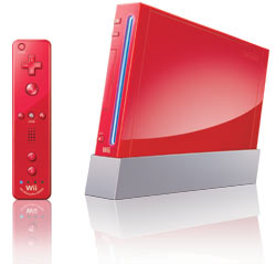 Red Wii console and Wii Remote Plus included in the Red Wii New Super Mario Bros. Wii bundle