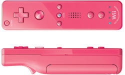 Front and side view of a pink Wii Remote Plus controller