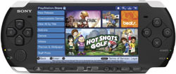 PlayStation store shown on a Piano Black PSP-3000