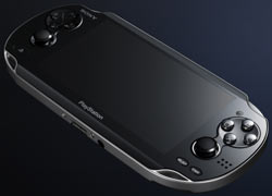 Front angled view of the Sony NGP showing the large screen, the two analog sticks and the inward facing camera