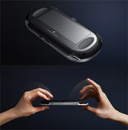 Dual image of the Sony NGP's back multi-touch pad and the pad in use