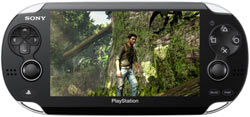 A gameplay screen from the Uncharted game franchise shown on the Sony NGP