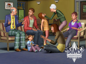 Sims from all generations sitting together in The Sims 3: Generations Expansion Pack
