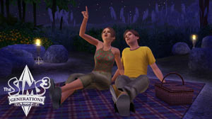 A Sims couple on a date looking up at the stars in The Sims 3: Generations Expansion Pack