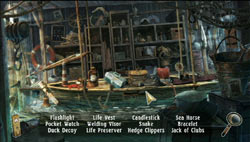 Hidden Object gameplay screen from Mystery Case Files: The Malgrave Incident