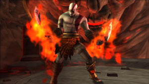 Kratos brandishing the charged Blades of Athena in the God of War: Origins Collection