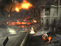 Kratos entering a destroyed city harbor environment in the God of War: Origins Collection