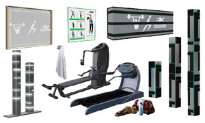 A selection of gym equipment available in The Sims 3: Town Life Stuff Pack