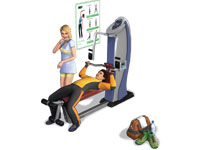 Gym equipment in use in The Sims 3: Town Life Stuff