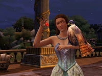 A noblewoman with a falcon companion in The Sims Medieval: Pirates and Nobles
