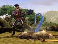 A pirate unleashing an unintended consequence while digging for treasure in The Sims Medieval: Pirates and Nobles