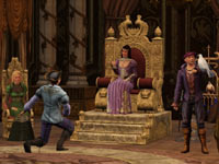 A glimpse into a noble's throne room in The Sims Medieval: Pirates and Nobles