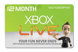 Xbox 360 Live 12 Months Subscription Gold Card