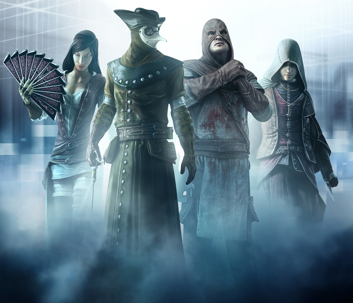 Ezio flanked by some of the members of the Assassin's