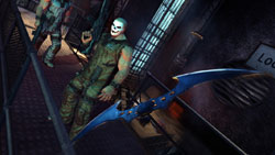 The batarang in flight in 'Batman: Arkham Asylum'