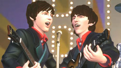 Paul and George working a harmony in 'The Beatles: Rock Band'