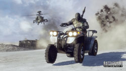 ATV and combat helicopter in action is Battlefield Bad Company 2