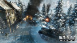 Cavalry / infantry combat in the snow in Battlefield Bad Company 2