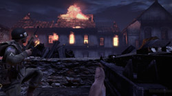 Taking cover behind a wall in 'Brothers in Arms: Hell's Highway'