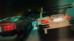 Two cars racing side-by-side in a tunnel in 'Blur'