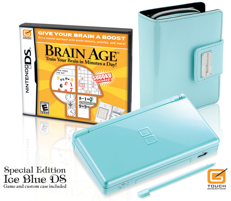 Nintendo DS Lite Limited Edition Ice Blue with Brain Age: Train Your