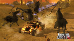 Eddie taking out mounted reapers with his hot rod in 'Brütal Legend'