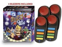 Game box with bundled four wireless controllers in Buzz! Quiz World Bundle