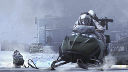 Two players teaming up on a snowmobile in 'Modern Warfare 2'