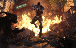 Jumping through the flames in a Nanosuit 2 in Crysis 2